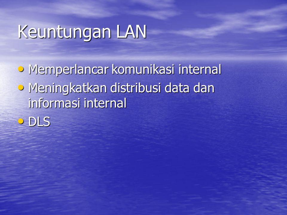 Keuntungan LAN Memperlancar komunikasi internal Memperlancar komunikasi internal Meningkatkan distribusi data dan informasi internal Meningkatkan dist