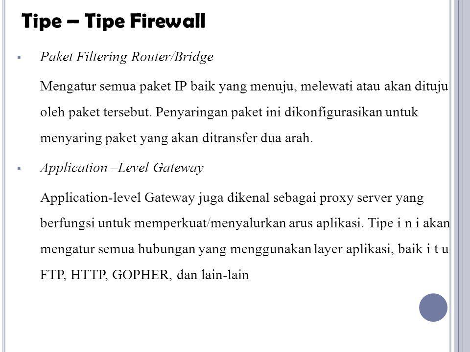  Paket Filtering Router/Bridge Mengatur semua paket IP baik yang menuju, melewati atau akan dituju oleh paket tersebut. Penyaringan paket ini dikonfi