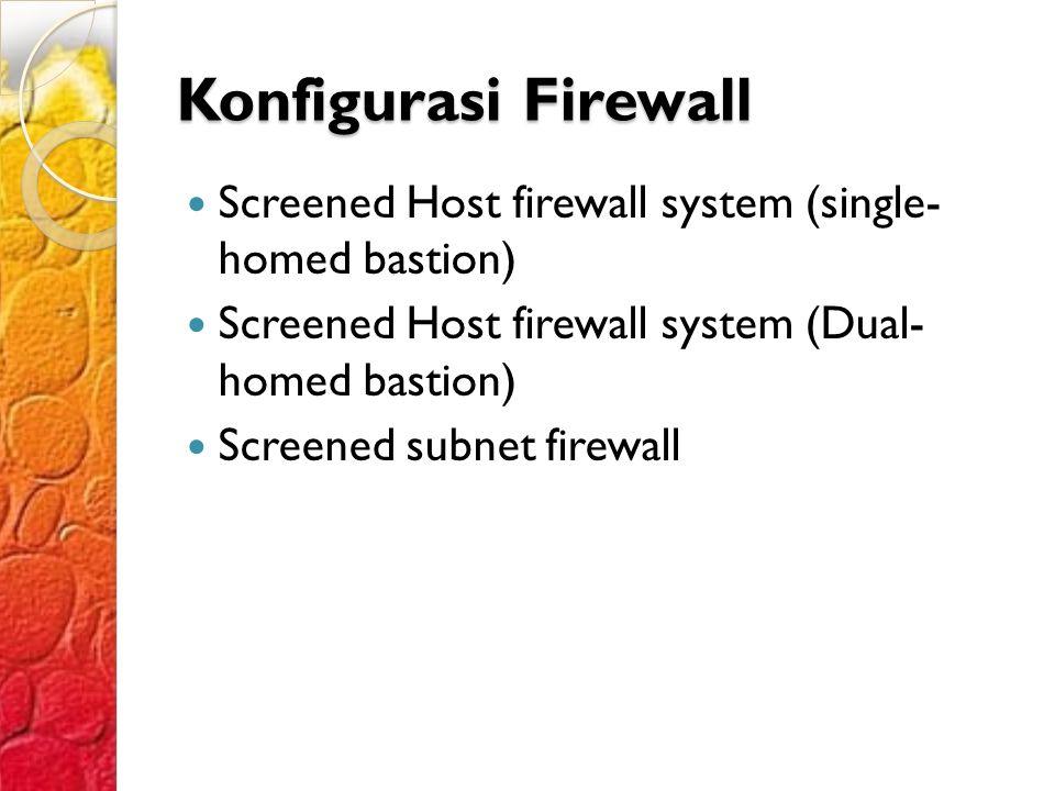 Konfigurasi Firewall Screened Host firewall system (single- homed bastion) Screened Host firewall system (Dual- homed bastion) Screened subnet firewall