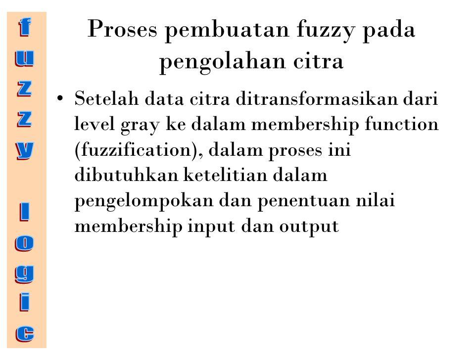 Proses pembuatan fuzzy pada pengolahan citra Setelah data citra ditransformasikan dari level gray ke dalam membership function (fuzzification), dalam proses ini dibutuhkan ketelitian dalam pengelompokan dan penentuan nilai membership input dan output