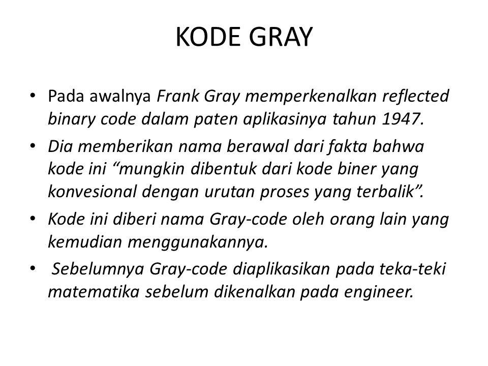 KODE GRAY Pada awalnya Frank Gray memperkenalkan reflected binary code dalam paten aplikasinya tahun 1947. Dia memberikan nama berawal dari fakta bahw