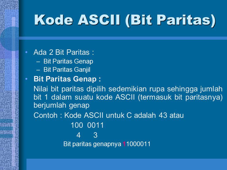 Kode ASCII (Bit Paritas) Bit Paritas Ganjil : Nilai bit paritas dipilih sedemikian rupa sehingga jumlah bit 1 dalam suatu kode ASCII (termasuk bit paritasnya) berjumlah ganjil Contoh : Kode ASCII untuk C adalah 43 atau 100 0011 4 3 Bit paritas ganjilnya 01000011