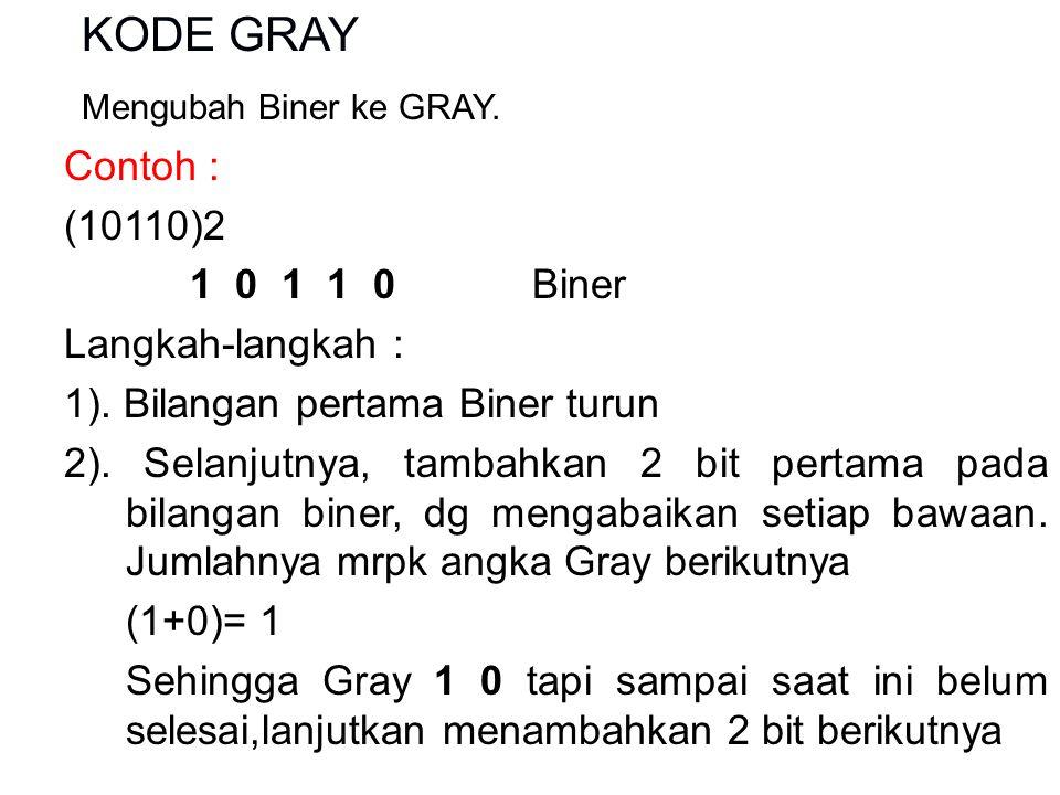 KODE GRAY Mengubah Biner ke GRAY. Contoh : (10110)2 1 0 1 1 0 Biner Langkah-langkah : 1).