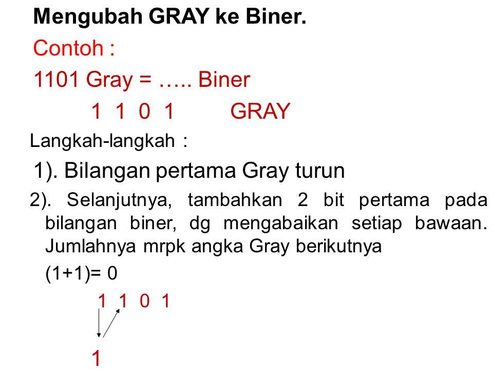 Mengubah GRAY ke Biner. Contoh : 1101 Gray = ….. Biner 1 1 0 1 GRAY Langkah-langkah : 1).