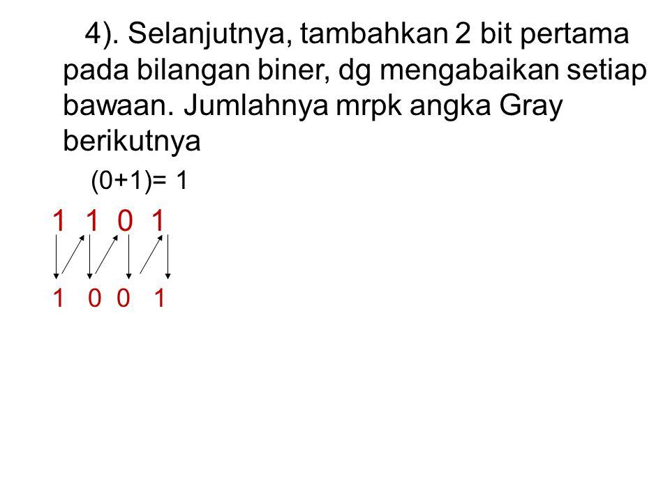 4). Selanjutnya, tambahkan 2 bit pertama pada bilangan biner, dg mengabaikan setiap bawaan.