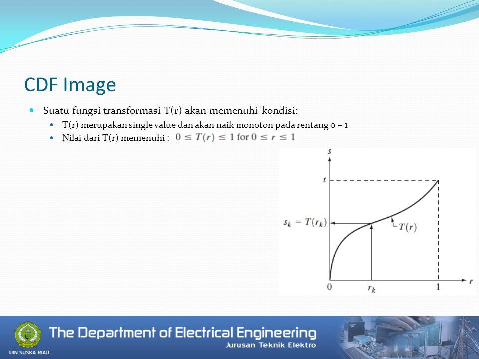 CDF Image Suatu fungsi transformasi T(r) akan memenuhi kondisi: T(r) merupakan single value dan akan naik monoton pada rentang 0 – 1 Nilai dari T(r) memenuhi :