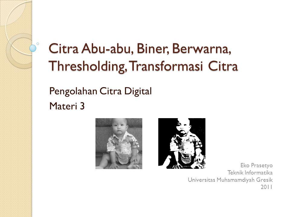 Citra abu-abu ke biner >> f = imread( anak.png ); >> T = graythresh(f) T = 0.5529 >> g = im2bw(f,T); >> imwrite(g, anak_biner.tif ); >> f = imread( rice.tif ); >> T = graythresh(f) T = 0.5255 >> g = im2bw(f,T); >> imwrite(g, rice_biner.tif ); 32 Citra abu-abuCitra biner
