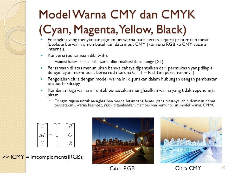 Model Warna CMY dan CMYK (Cyan, Magenta, Yellow, Black) Perangkat yang menyimpan pigmen berwarna pada kertas, seperti printer dan mesin fotokopi berwa