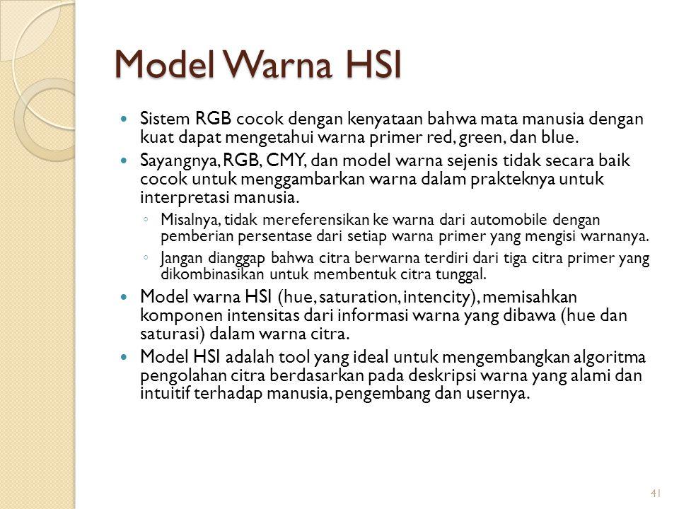 Model Warna HSI Sistem RGB cocok dengan kenyataan bahwa mata manusia dengan kuat dapat mengetahui warna primer red, green, dan blue. Sayangnya, RGB, C