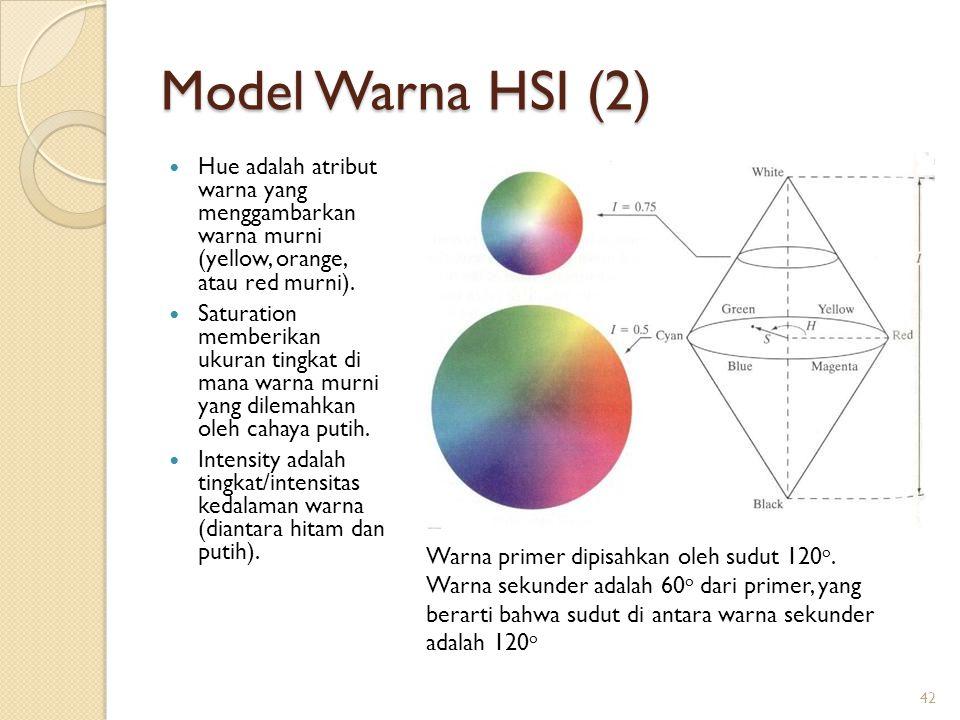 Model Warna HSI (2) Hue adalah atribut warna yang menggambarkan warna murni (yellow, orange, atau red murni). Saturation memberikan ukuran tingkat di