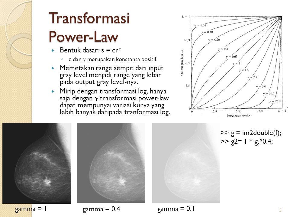 Transformasi Power-Law Bentuk dasar: s = cr  ◦ c dan  merupakan konstanta positif. Memetakan range sempit dari input gray level menjadi range yang l