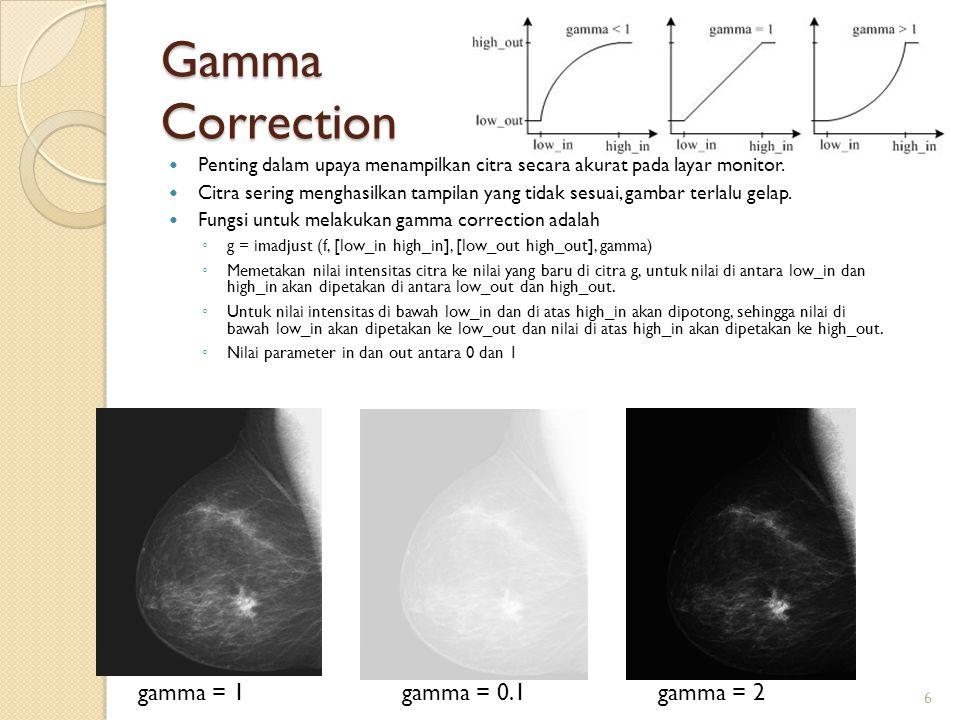Gamma Correction Penting dalam upaya menampilkan citra secara akurat pada layar monitor. Citra sering menghasilkan tampilan yang tidak sesuai, gambar