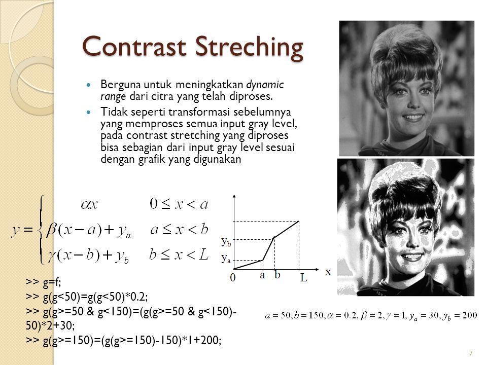Contrast Streching Berguna untuk meningkatkan dynamic range dari citra yang telah diproses. Tidak seperti transformasi sebelumnya yang memproses semua