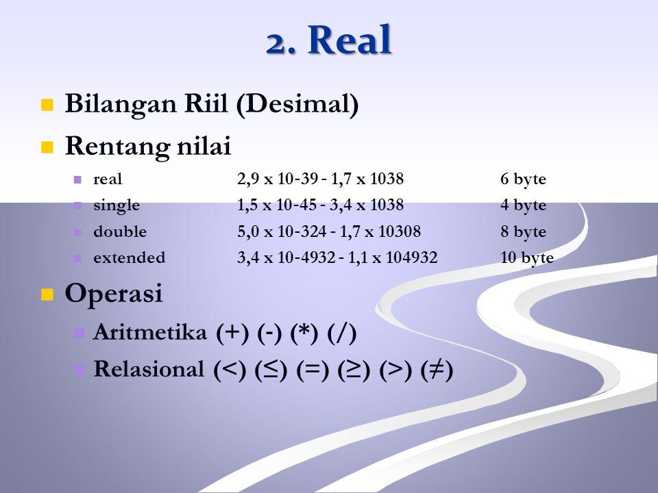 Bilangan Riil (Desimal) Rentang nilai real 2,9 x 10 ‐ 39 ‐ 1,7 x 1038 6 byte single 1,5 x 10 ‐ 45 ‐ 3,4 x 1038 4 byte double 5,0 x 10 ‐ 324 ‐ 1,7 x 10
