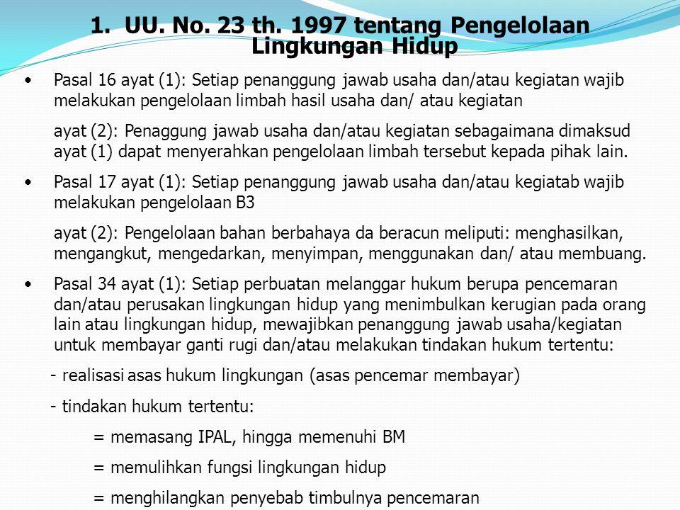 1. UU. No. 23 th. 1997 tentang Pengelolaan Lingkungan Hidup Pasal 16 ayat (1): Setiap penanggung jawab usaha dan/atau kegiatan wajib melakukan pengelo