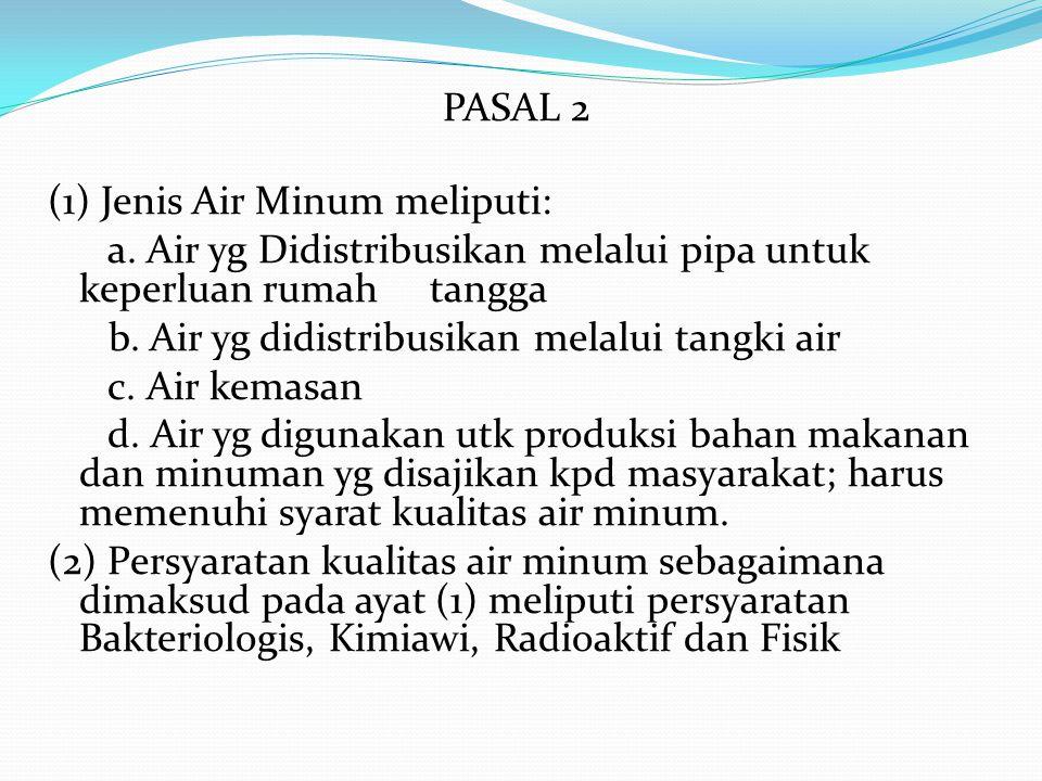 PASAL 2 (1) Jenis Air Minum meliputi: a. Air yg Didistribusikan melalui pipa untuk keperluan rumah tangga b. Air yg didistribusikan melalui tangki air
