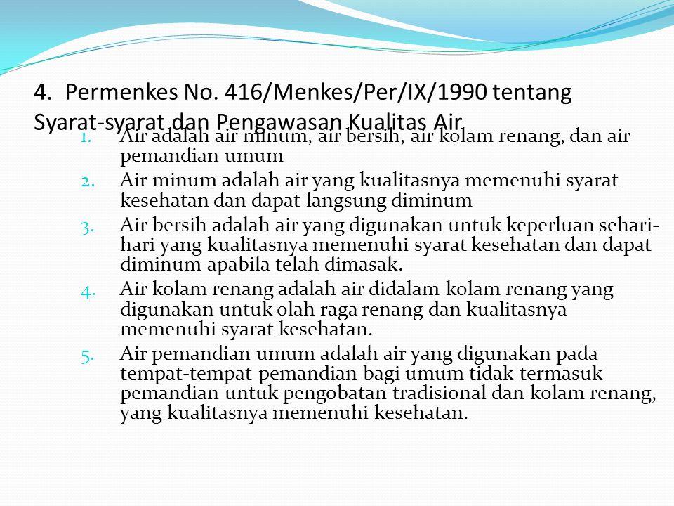 4. Permenkes No. 416/Menkes/Per/IX/1990 tentang Syarat-syarat dan Pengawasan Kualitas Air 1. Air adalah air minum, air bersih, air kolam renang, dan a