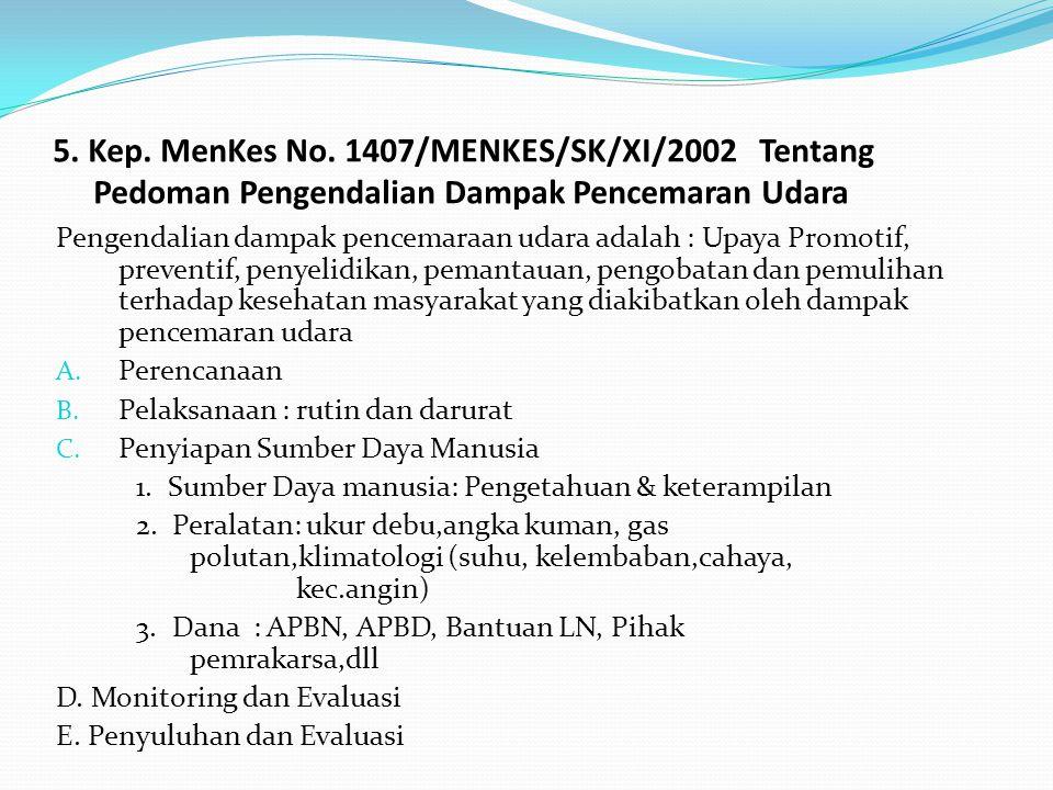 5. Kep. MenKes No. 1407/MENKES/SK/XI/2002 Tentang Pedoman Pengendalian Dampak Pencemaran Udara Pengendalian dampak pencemaraan udara adalah : Upaya Pr