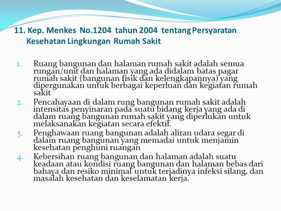 11. Kep. Menkes No.1204 tahun 2004 tentang Persyaratan Kesehatan Lingkungan Rumah Sakit 1. Ruang bangunan dan halaman rumah sakit adalah semua rungan/