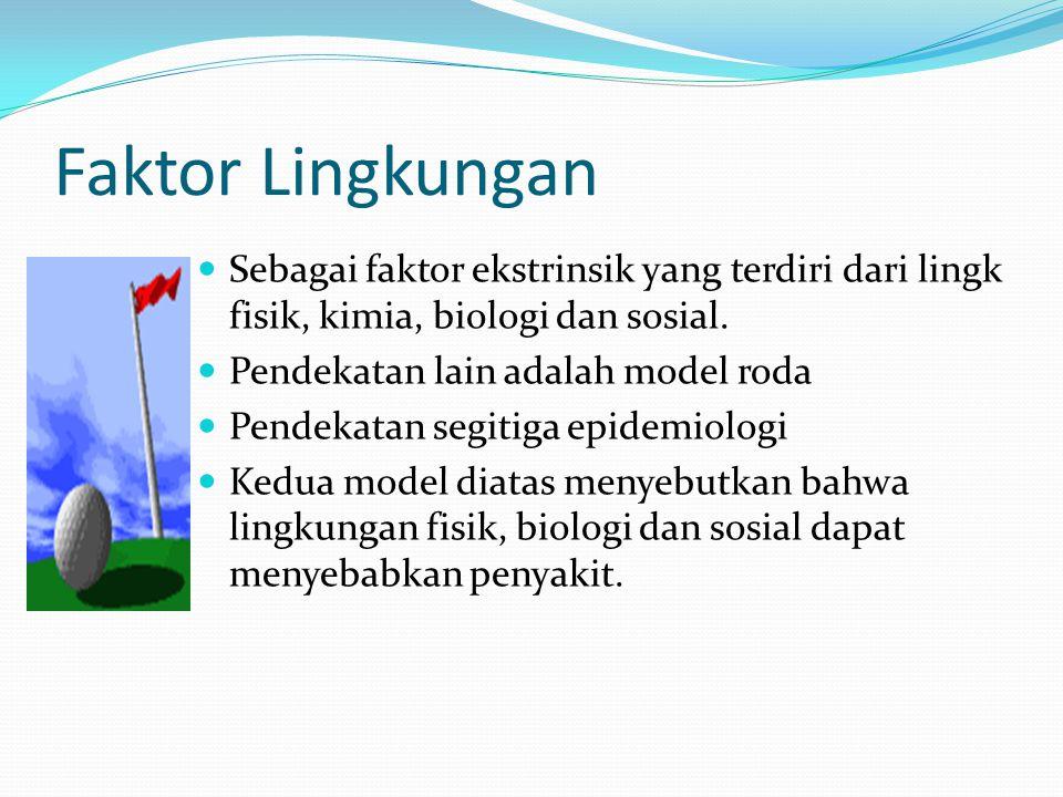 Faktor Lingkungan Sebagai faktor ekstrinsik yang terdiri dari lingk fisik, kimia, biologi dan sosial. Pendekatan lain adalah model roda Pendekatan seg