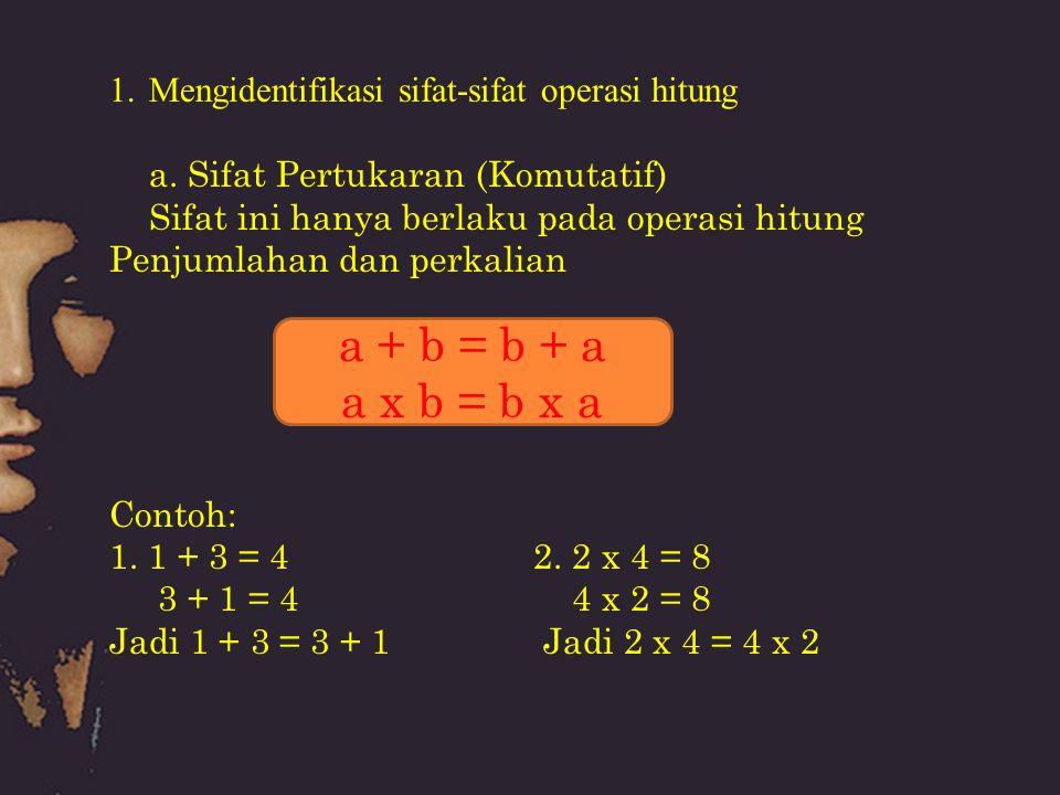 1.Mengidentifikasi sifat-sifat operasi hitung a. Sifat Pertukaran (Komutatif) Sifat ini hanya berlaku pada operasi hitung Penjumlahan dan perkalian Co