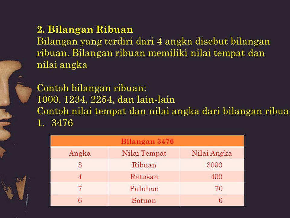 2. Bilangan Ribuan Bilangan yang terdiri dari 4 angka disebut bilangan ribuan. Bilangan ribuan memiliki nilai tempat dan nilai angka Contoh bilangan r