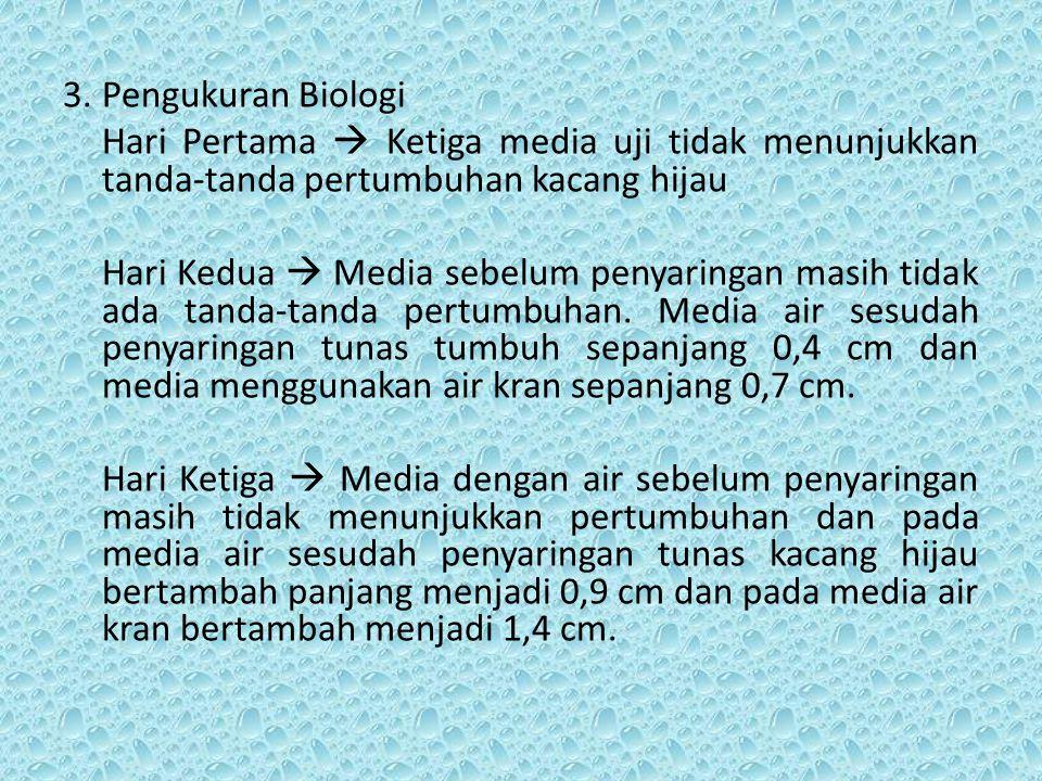 3.Pengukuran Biologi Hari Pertama  Ketiga media uji tidak menunjukkan tanda-tanda pertumbuhan kacang hijau Hari Kedua  Media sebelum penyaringan mas