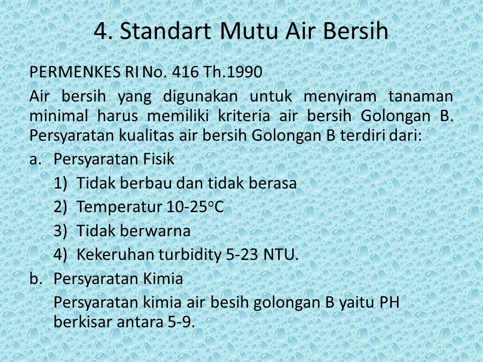 4. Standart Mutu Air Bersih PERMENKES RI No. 416 Th.1990 Air bersih yang digunakan untuk menyiram tanaman minimal harus memiliki kriteria air bersih G