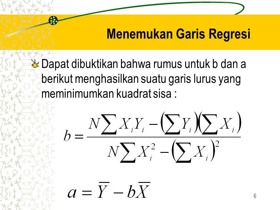 6 Menemukan Garis Regresi Dapat dibuktikan bahwa rumus untuk b dan a berikut menghasilkan suatu garis lurus yang meminimumkan kuadrat sisa :