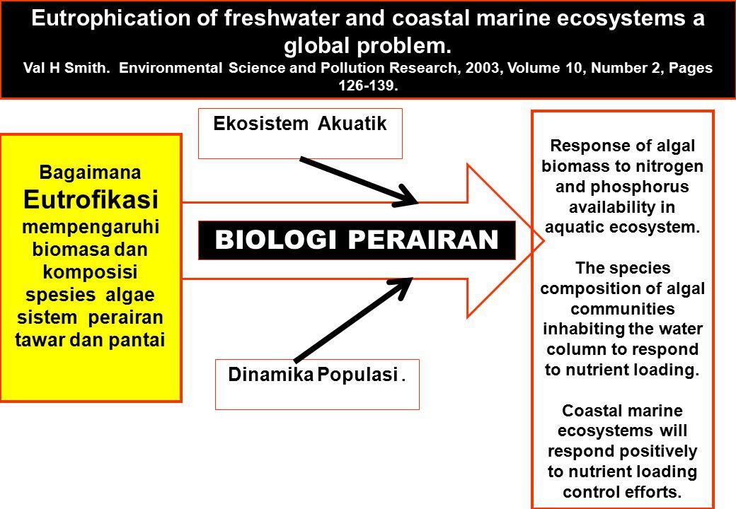 Bagaimana Eutrofikasi mempengaruhi biomasa dan komposisi spesies algae sistem perairan tawar dan pantai Response of algal biomass to nitrogen and phosphorus availability in aquatic ecosystem.