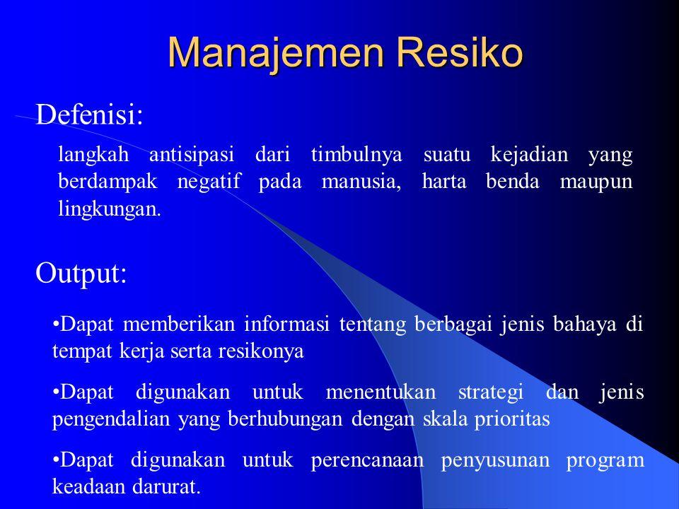 Manajemen Resiko Defenisi: langkah antisipasi dari timbulnya suatu kejadian yang berdampak negatif pada manusia, harta benda maupun lingkungan. Output