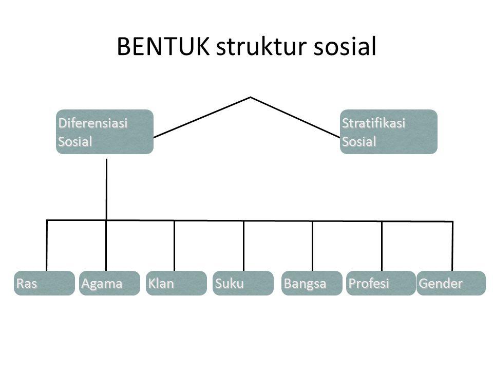 BENTUK struktur sosial Diferensiasi Sosial Stratifikasi Sosial RasSukuBangsaKlanAgamaProfesiGender