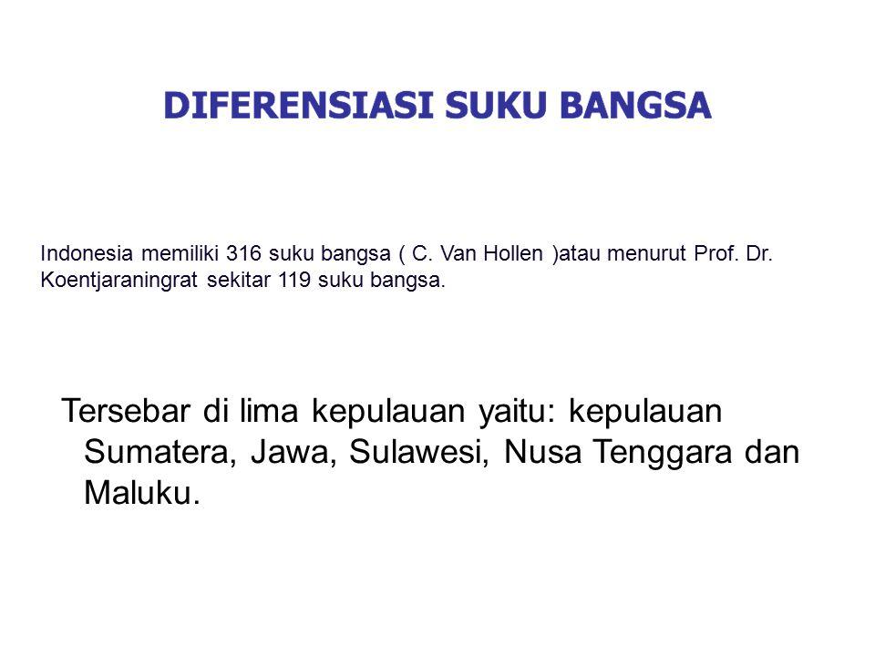 Indonesia memiliki 316 suku bangsa ( C. Van Hollen )atau menurut Prof. Dr. Koentjaraningrat sekitar 119 suku bangsa. Tersebar di lima kepulauan yaitu: