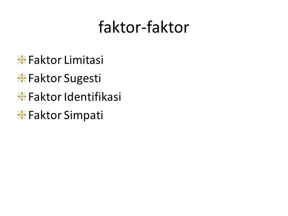 faktor-faktor Faktor Limitasi Faktor Sugesti Faktor Identifikasi Faktor Simpati