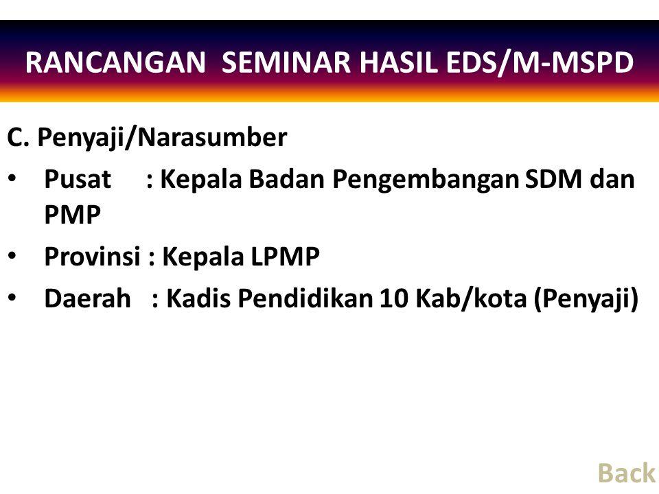 C. Penyaji/Narasumber Pusat : Kepala Badan Pengembangan SDM dan PMP Provinsi : Kepala LPMP Daerah : Kadis Pendidikan 10 Kab/kota (Penyaji) RANCANGAN S