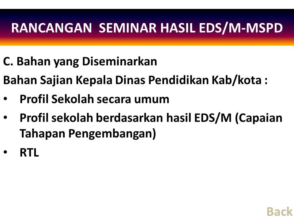 C. Bahan yang Diseminarkan Bahan Sajian Kepala Dinas Pendidikan Kab/kota : Profil Sekolah secara umum Profil sekolah berdasarkan hasil EDS/M (Capaian