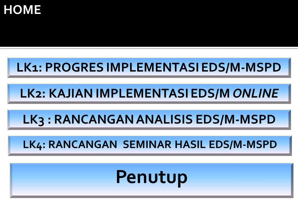 LK2: KAJIAN IMPLEMENTASI EDS/M ONLINE LK3 : RANCANGAN ANALISIS EDS/M-MSPD LK4: RANCANGAN SEMINAR HASIL EDS/M-MSPD LK1: PROGRES IMPLEMENTASI EDS/M-MSPD Penutup HOME
