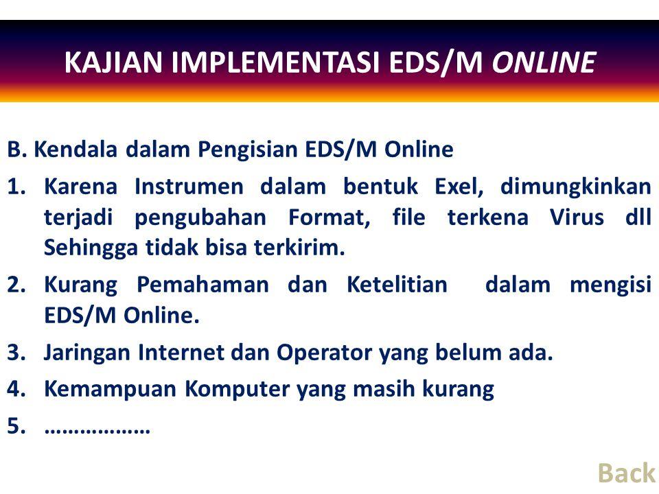 B. Kendala dalam Pengisian EDS/M Online 1.Karena Instrumen dalam bentuk Exel, dimungkinkan terjadi pengubahan Format, file terkena Virus dll Sehingga
