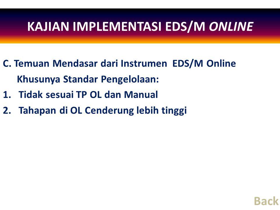 C. Temuan Mendasar dari Instrumen EDS/M Online Khusunya Standar Pengelolaan: 1.Tidak sesuai TP OL dan Manual 2.Tahapan di OL Cenderung lebih tinggi KA