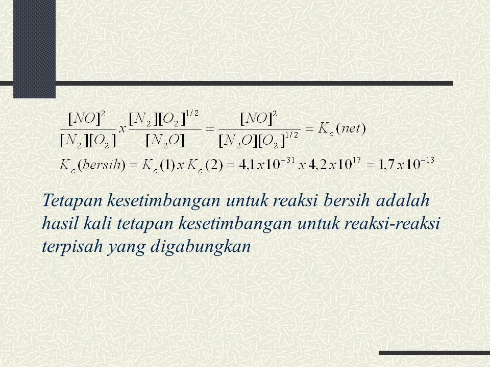 Tetapan kesetimbangan untuk reaksi bersih adalah hasil kali tetapan kesetimbangan untuk reaksi-reaksi terpisah yang digabungkan