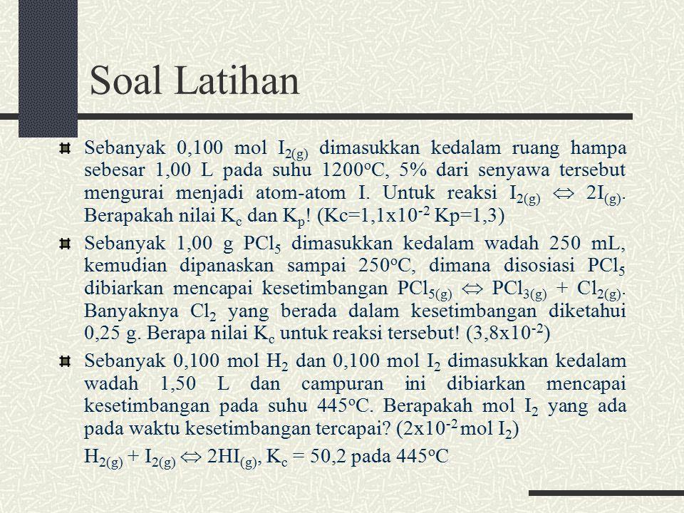 Soal Latihan Sebanyak 0,100 mol I 2(g) dimasukkan kedalam ruang hampa sebesar 1,00 L pada suhu 1200 o C, 5% dari senyawa tersebut mengurai menjadi atom-atom I.