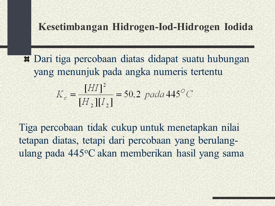 Kesetimbangan Hidrogen-Iod-Hidrogen Iodida Dari tiga percobaan diatas didapat suatu hubungan yang menunjuk pada angka numeris tertentu Tiga percobaan tidak cukup untuk menetapkan nilai tetapan diatas, tetapi dari percobaan yang berulang- ulang pada 445 o C akan memberikan hasil yang sama