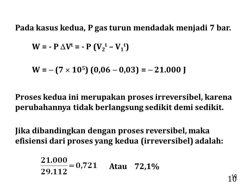 10 Pada kasus kedua, P gas turun mendadak menjadi 7 bar. W =  (7  10 5 ) (0,06  0,03) =  21.000 J Proses kedua ini merupakan proses irreversibel,