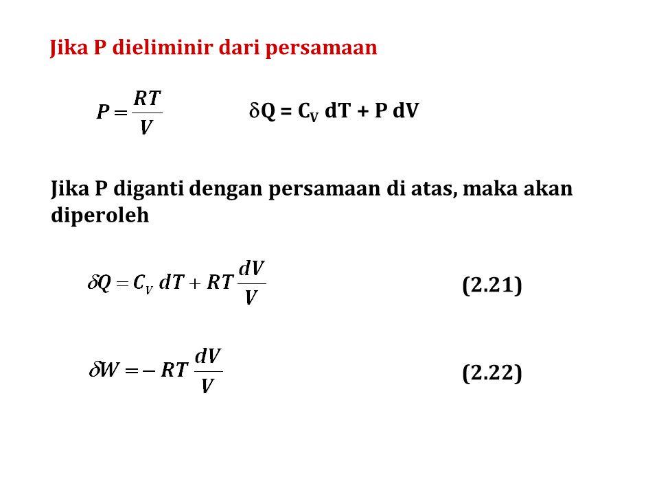 Jika P dieliminir dari persamaan Jika P diganti dengan persamaan di atas, maka akan diperoleh (2.21) (2.22)  Q = C V dT + P dV