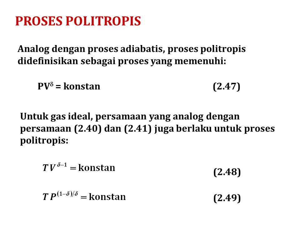 PROSES POLITROPIS Analog dengan proses adiabatis, proses politropis didefinisikan sebagai proses yang memenuhi: PV  = konstan Untuk gas ideal, persam