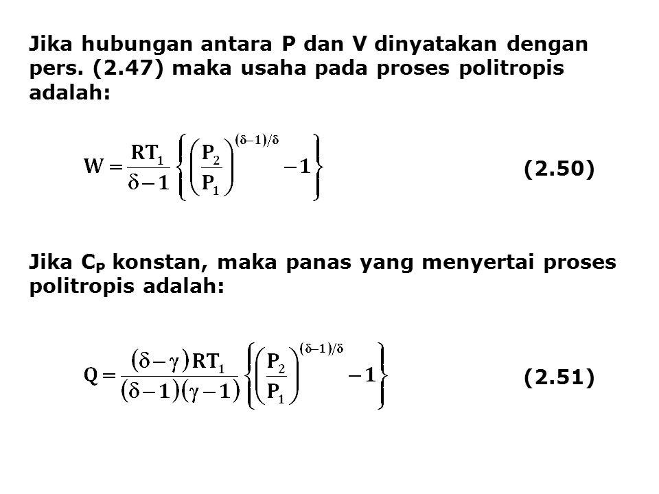 Jika hubungan antara P dan V dinyatakan dengan pers. (2.47) maka usaha pada proses politropis adalah: (2.50) Jika C P konstan, maka panas yang menyert