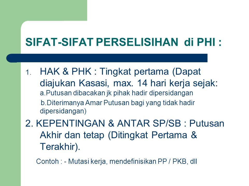 SIFAT-SIFAT PERSELISIHAN di PHI : 1. HAK & PHK : Tingkat pertama (Dapat diajukan Kasasi, max. 14 hari kerja sejak: a.Putusan dibacakan jk pihak hadir