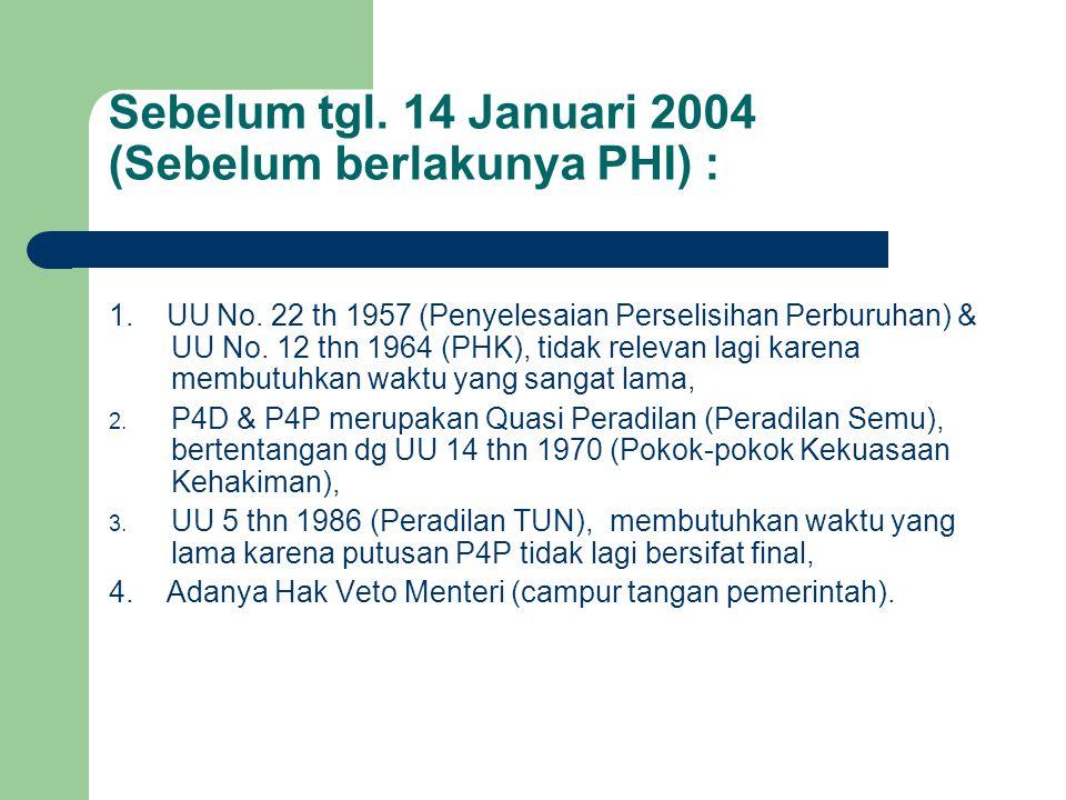 Sebelum tgl. 14 Januari 2004 (Sebelum berlakunya PHI) : 1. UU No. 22 th 1957 (Penyelesaian Perselisihan Perburuhan) & UU No. 12 thn 1964 (PHK), tidak