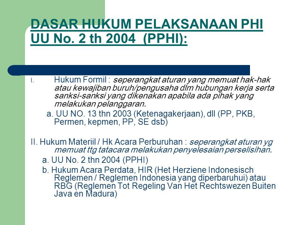 DASAR HUKUM PELAKSANAAN PHI UU No. 2 th 2004 (PPHI): I. Hukum Formil : seperangkat aturan yang memuat hak-hak atau kewajiban buruh/pengusaha dlm hubun