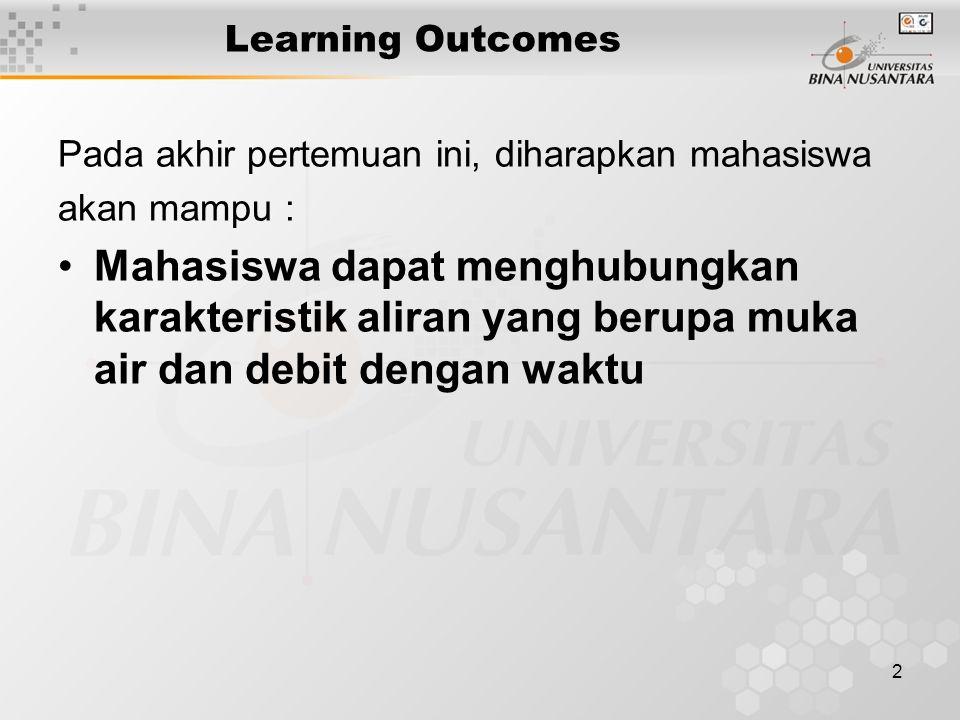 2 Learning Outcomes Pada akhir pertemuan ini, diharapkan mahasiswa akan mampu : Mahasiswa dapat menghubungkan karakteristik aliran yang berupa muka air dan debit dengan waktu
